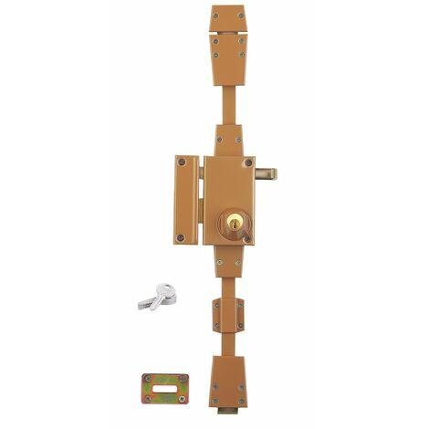 Serrurerie de Picardie - Serrure en applique à cylindre à tirage pour porte d'entrée, 3 pts, gauche, bronze, 4 clés