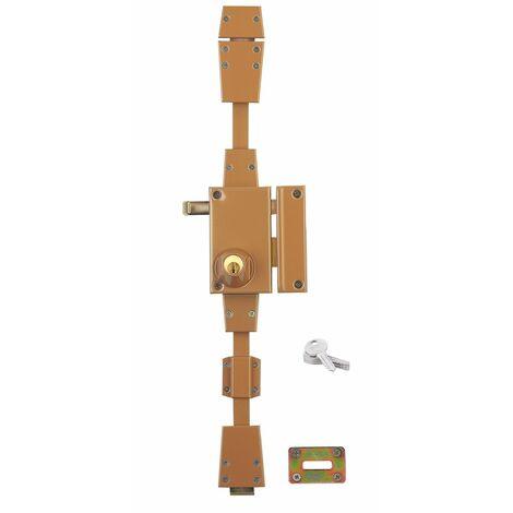 Serrurerie de Picardie - Serrure en applique horizontale, à tirage, 3 pts, bronze, droite