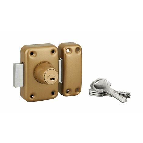 Serrurerie de Picardie - Verrou en applique à double entrée pour porte vitrée, cylindre Ø23x45mm, or, 4 clés