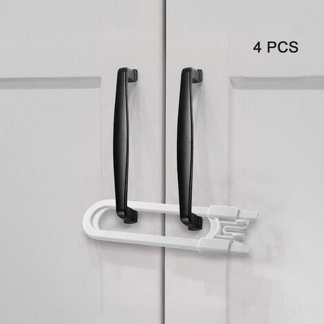 Serrures d'armoire coulissantes, loquet d'armoire à l'épreuve des enfants pour portes de rangement de salle de bain de cuisine, serrures de sécurité pour bébé en forme de U, boutons et poignées (paquet de 4, blanc)