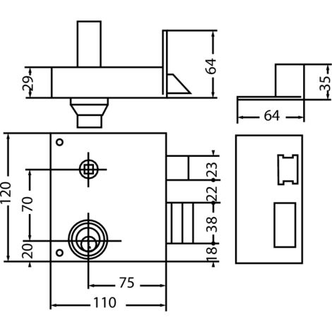 Serrures de grille extra-renforcée en applique verticales à fouillot à cylindre rond 900 400 03 main gauche