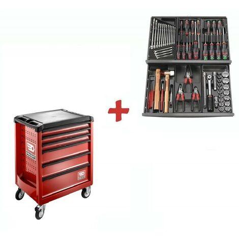 "main image of ""Servante 6 tiroirs ROLL M3 Rouge avec composition 69 outils Facom"""