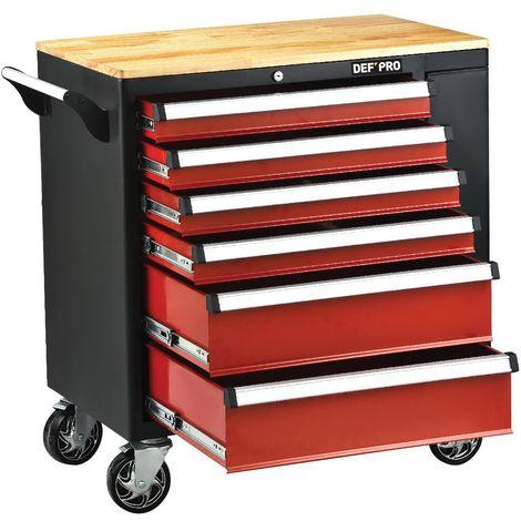 Servante atelier 6 tiroirs plateau bois