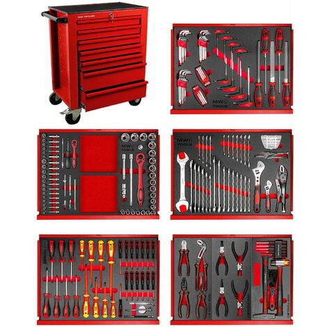 Servante atelier complète 211 outils rouge MW-Tools MWE211R