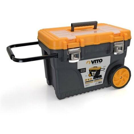 Servante / Caisse à outils 595 x 380 x 420 mm sur roues VITO Malette outil haute résistance poignée télescopique Acier.