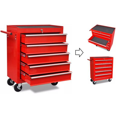 Servante / Caisse à outils d'atelier 5 tiroirs avec serrure.