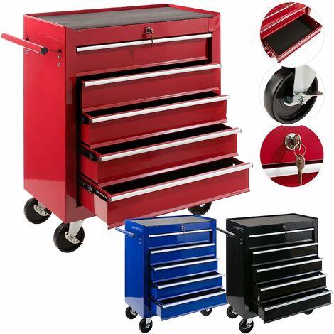 Servante Caisse à outils d'atelier 5 tiroirs tools chest chariot rouge