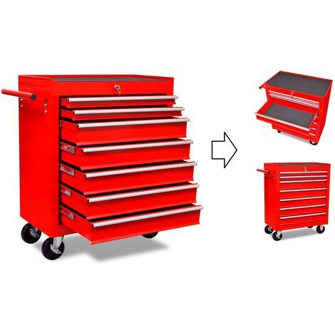 Servante / Caisse à outils d'atelier 7 tiroirs avec serrure.