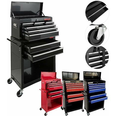 Servante Caisse à outils d'atelier 9 tiroirs tools chest chariot noir - noir