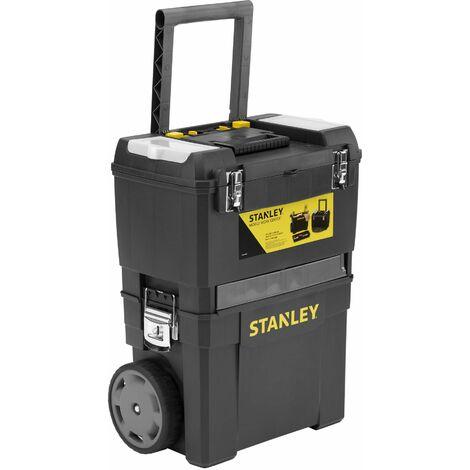 Servante Carbone 3 en 1 - Boîte à Outils - Rangement Electroportatif - Carrousel Rotatif - STANLEY, 1-93-968