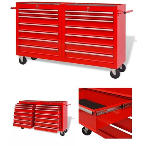 Servante / Chariot à outils d'atelier 14 tiroirs avec serrure