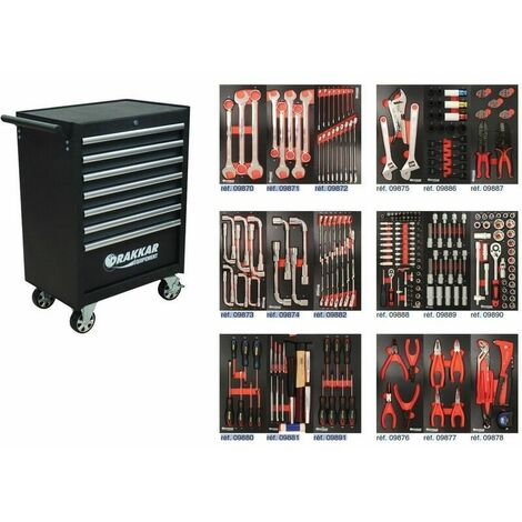 Servante complète Drakkar 249 outils dans module finition carbone