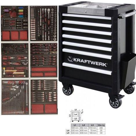 Servante d'atelier 7 tiroirs avec 276 d'outils COMPLETO KRAFTWERK 7 tiroirs