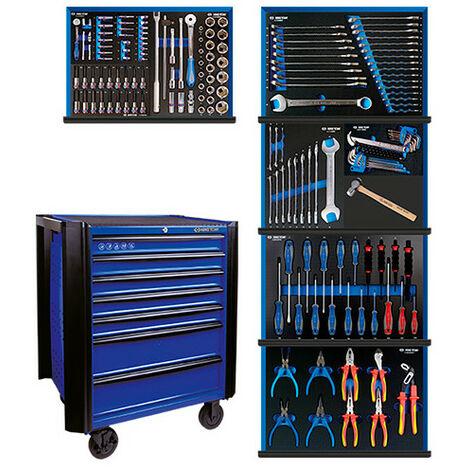 Servante d'atelier BUMPER bleue + 166 pièces