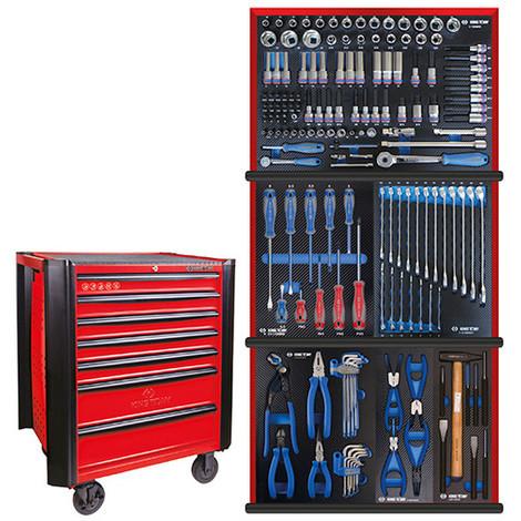 1112765b6213a Servante d'atelier BUMPER rouge + 161 outils plateaux EVAWAVE - 934161MRER  - King Tony