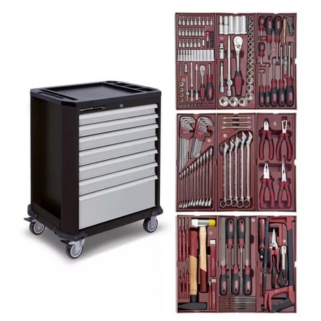 Servante d'atelier KRAFTWERK 7 tiroirs avec 191 outils professionnels intégrés 7 tiroirs