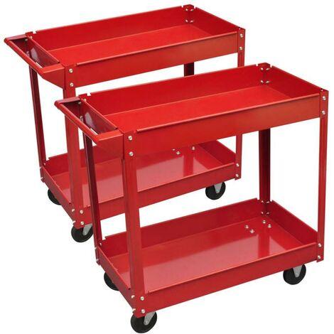 Servante d'atelier mobile 100 kg - Lot de 2