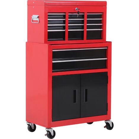 """main image of """"Servante d'atelier servante/ caisse à outil 6 tiroir +1 commode coffre amovible chariot acier rouge et noir - Rouge"""""""