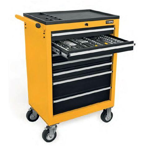 Servante d'atelier VITO 7 tiroirs 221 outils haute qualité chrome vanadium Meuble de garage complète sur roues