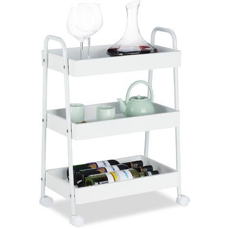 Servierwagen, 3 Ablagen, 360° drehbare Rollen, Küchenwagen mit Griffen, Stahl-Gestell, HBT: 70x49x28 cm, weiß