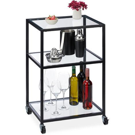 Servierwagen, 3 Ebenen, moderner Rollwagen für Küche, Bar, Wohnzimmer, Glas & Stahl, HBT 76x50x40 cm, schwarz