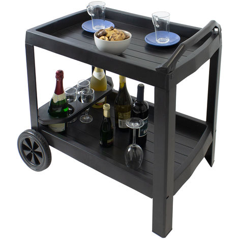 Servierwagen Astro mit 2 Rollen und Flaschenhalter Kunststoff Anthrazit rollbarer Getränkewagen Küchenwagen Gartenbeistelltisch Teewagen