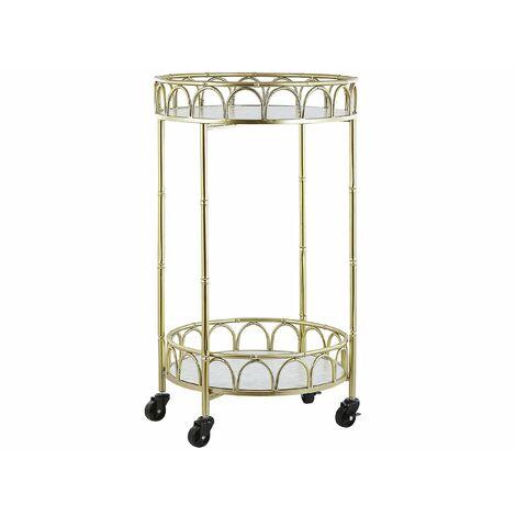 Servierwagen Gold Metall rund mit Rollen Marmor Optik Glamour Stil Küche Wohnzimmer Salon Möbel
