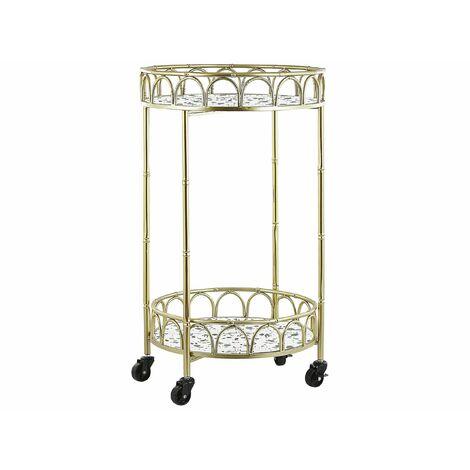 Servierwagen Gold Metall rund mit Rollen Stein Optik Terrazzo Look Glamour Stil Küche Wohnzimmer Salon Möbel