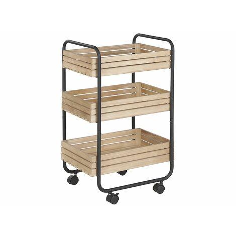 Servierwagen Hellbraun Paulownia Holz schwarzes Metallgestell rechteckig mit Rollen 3 Ablagen Industrie Stil Küche Wohnzimmer Salon Möbel
