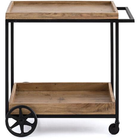 Servierwagen Industrial Design Akazie Holz Küchenwagen Rollwagen BeistellwagenA00000896