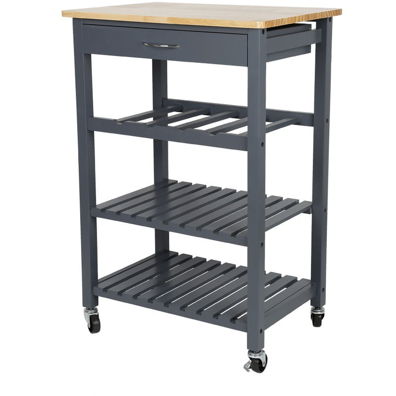 Servierwagen Küchenregal Küchenwagen mit Schubladen, auf 4 Rollen,3 Ebenen  ,für Küche und Wohnzimmer,Grau-braun