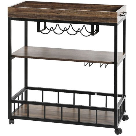 Servierwagen | Küchenwagen | Küchenregal - aus Holz und Metall. für Küche und Wohnzimmer. 79*40*90cm