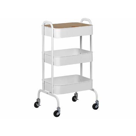 Servierwagen Weiß Kieferholz/Metall 4 Räder 3 Ablagefläche Modernes Design Wohnzimmer /Esszimmer