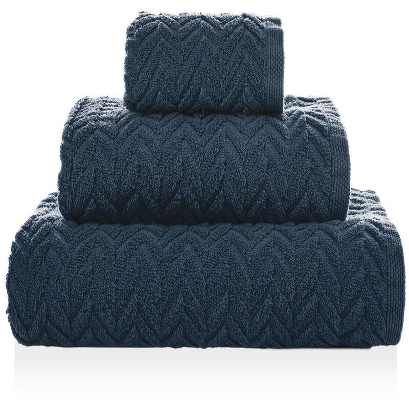 Serviette Chevron coton - 50x100cm, Bleu navy
