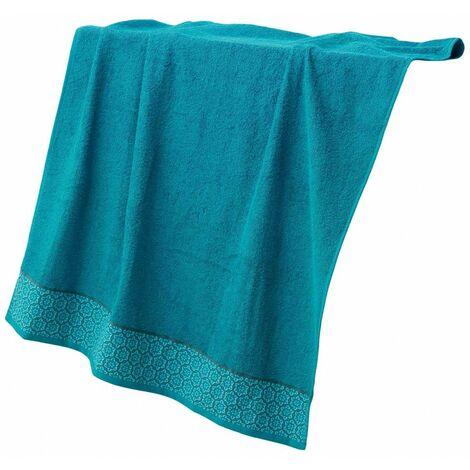 Serviette de douche éponge Jacquard - L 90 x l 150 cm - Bleu