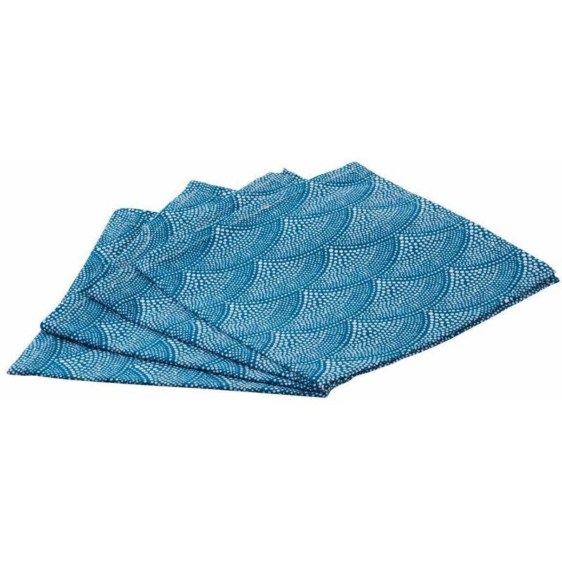 Serviette de table en coton (Lot de 4) bleu - Bleu