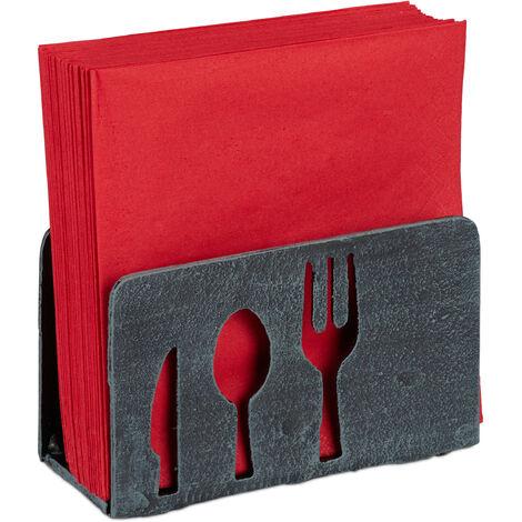 Serviettenhalter, für 33x33 Servietten, schwer, mit Besteck Motiv, Gusseisen, Gastro, Serviettenständer, grau