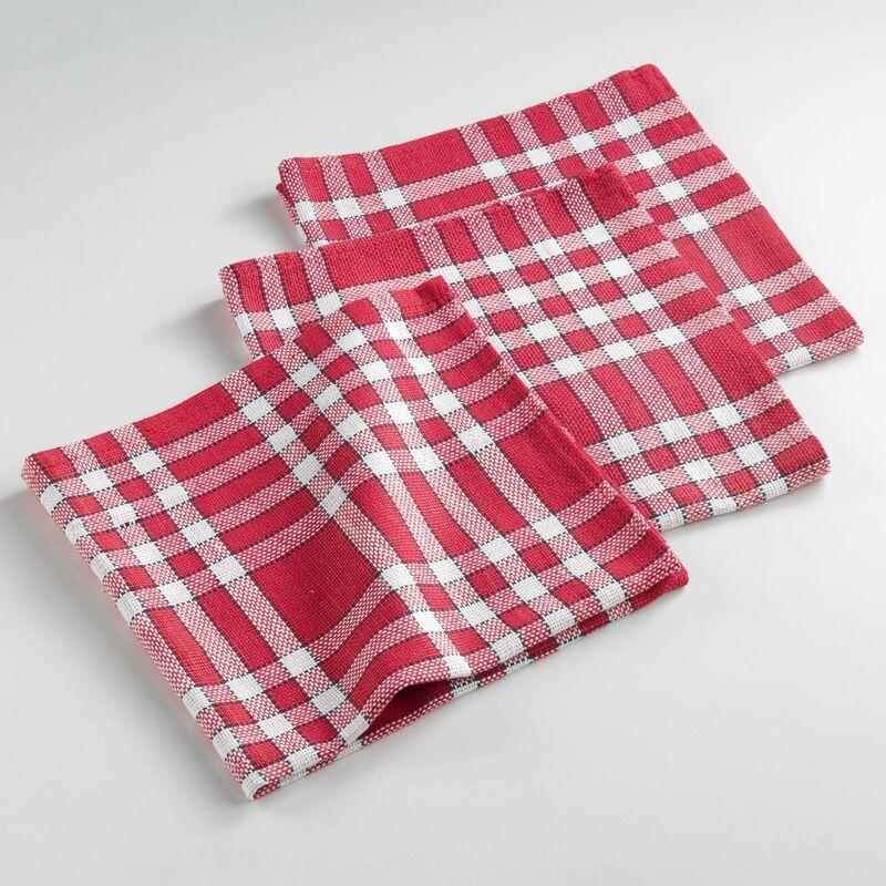 Serviettes de table /3 45 x 45 cm coton tisse traditio Rouge
