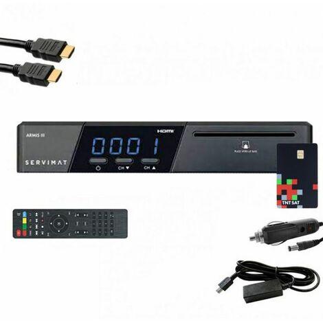 SERVIMAT Récepteur satellite HD + Carte TNTSAT V6 + Câble HDMI + Câble 12V + Déport IR - Gris