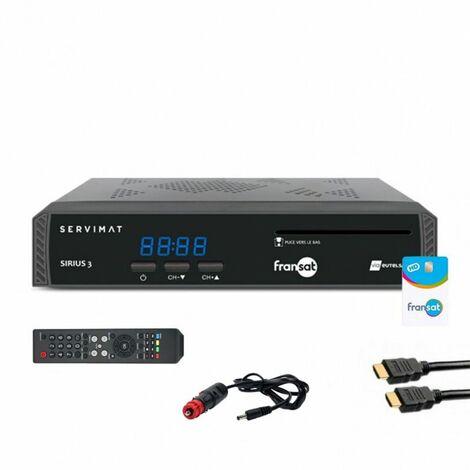 SERVIMAT Récepteur TV satellite HD + carte Fransat PC6 + Câble HDMI + Câble 12V - Noir
