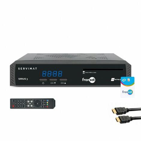 SERVIMAT Récepteur TV satellite HD + carte Viaccess Fransat PC6 + Câble HDMI 2M - Noir