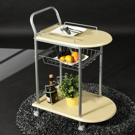 Serving Cart Kitchen Trolley on Casters Storage Cabinet