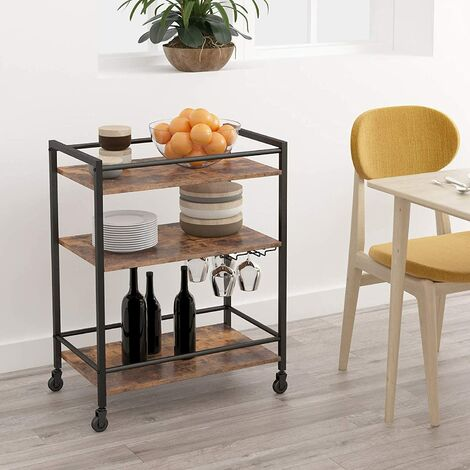 """main image of """"Serving Trolley, Kitchen Trolley Cart with Glass Holder, Drinks Trolley, Bar Cart, Kitchen Storage Shelf with Lockable Castors, 64 x 40 x 85 cm, for Lounge, Gins, Party, HOOBRO EBF02TC01 - Rustic Brown"""""""