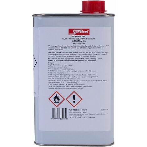 Servisol 6200005000 IPA 170 Isopropyl Alcohol 1 Litre Tin (non Aerosol)