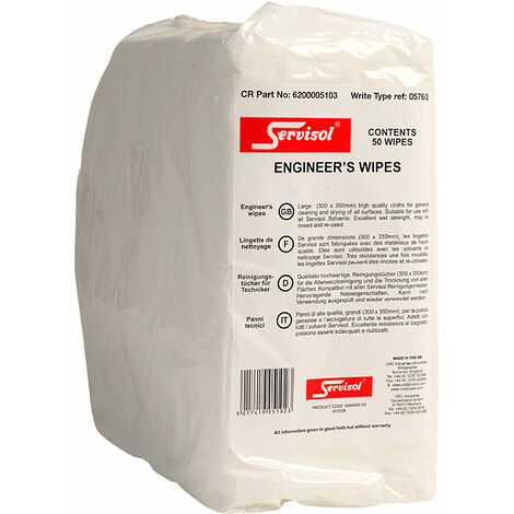 Servisol 6200005103 Engineers Wipes Pack of 50
