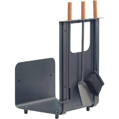 Serviteur de cheminée 3 pièces anthracite avec manche en hêtre