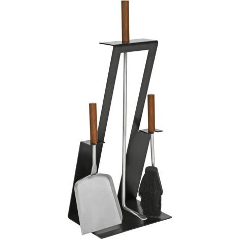 Serviteur de cheminée 3 pièces noir avec accessoires inox et manche en noyer