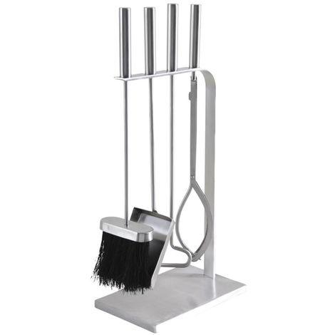 Serviteur de cheminée design à 4 pièces - Dim : 23 x 15 x 51 cm -PEGANE-