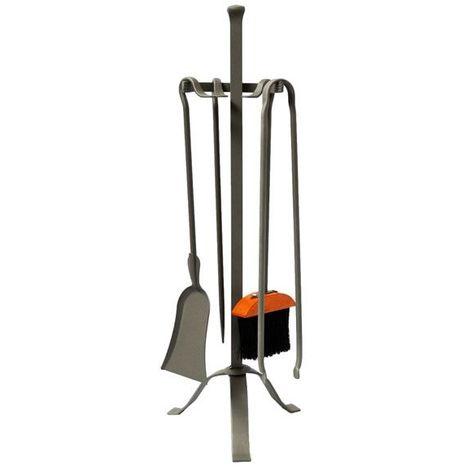 Serviteur de cheminée en acier Antique 4 accessoires