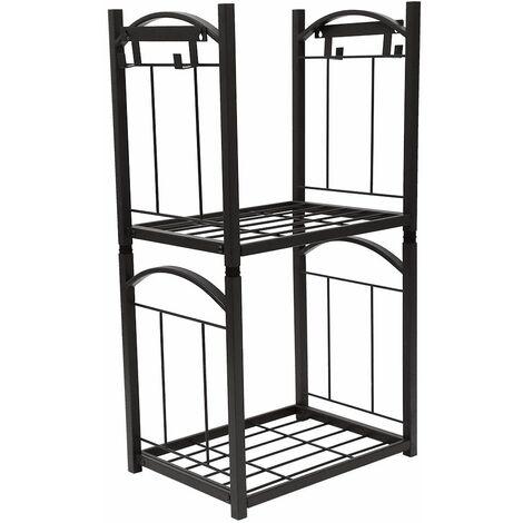 Serviteur de cheminée - porte bûches - range bûches multi accessoires 2 étagères 32*46*85cm acier noir - Noir